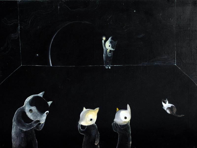 Peekaboo 2   (white) 60 x 80 oil on canvas .   2011
