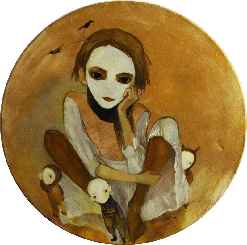 Self- portrait   70 x 70 oil on canvas . 2007