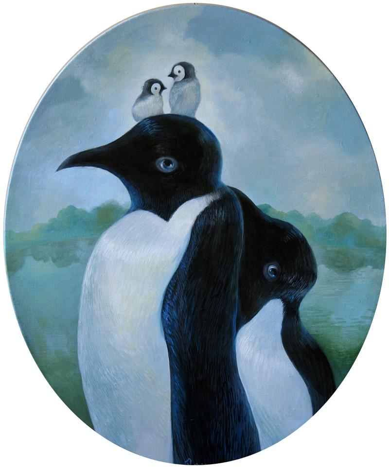 Penguins   50 x 60 oil on canvas . 2011