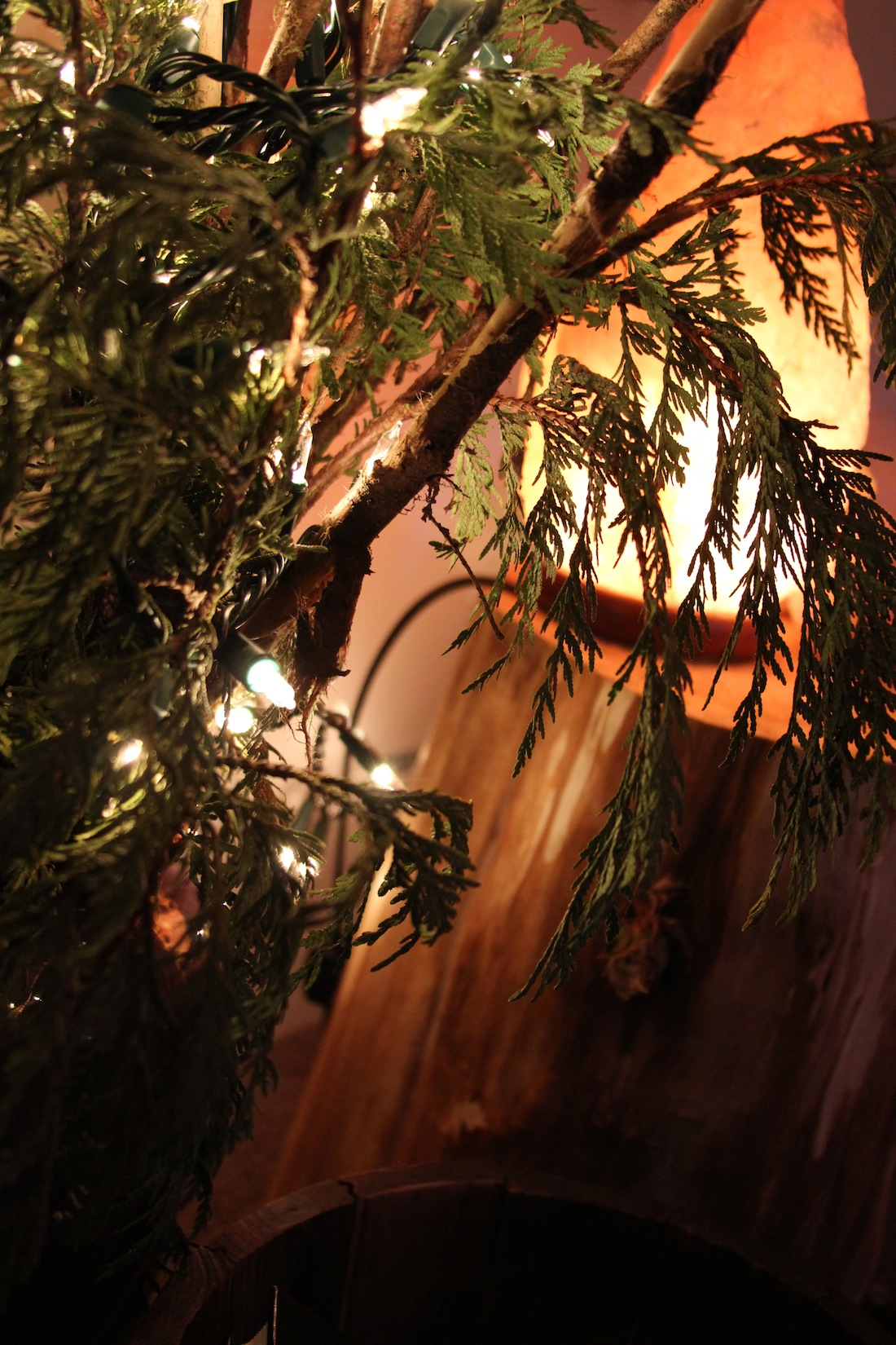 I wrapped twinkling lights around branches and cedar, and paired it with a salt lamp, for warm reading lights