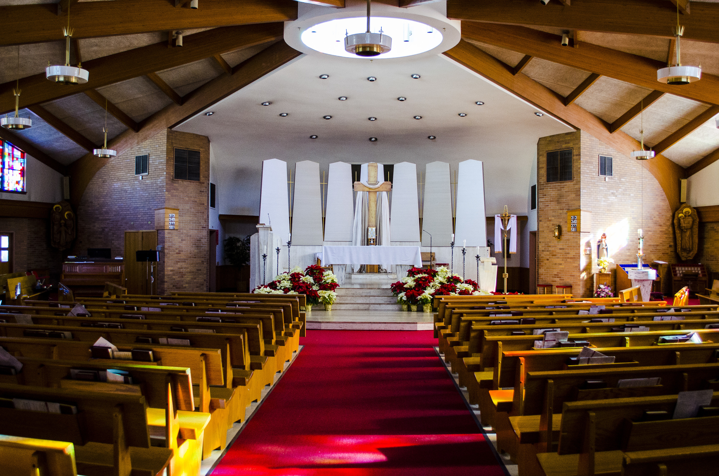 The warm, welcoming interior of St. Anthony's Church in Northvale, NJ.  The Tabernacle is located directly behind the altar.  You are most welcome to come in during the day and spend some time reflecting with the Lord.