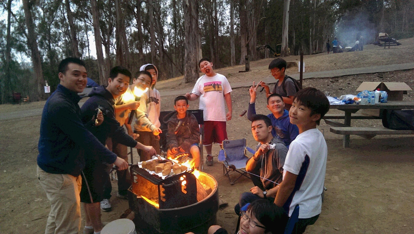 The guys demonstrated their dominance over fire and proceeded to roast meat over it in the typical male fashion.