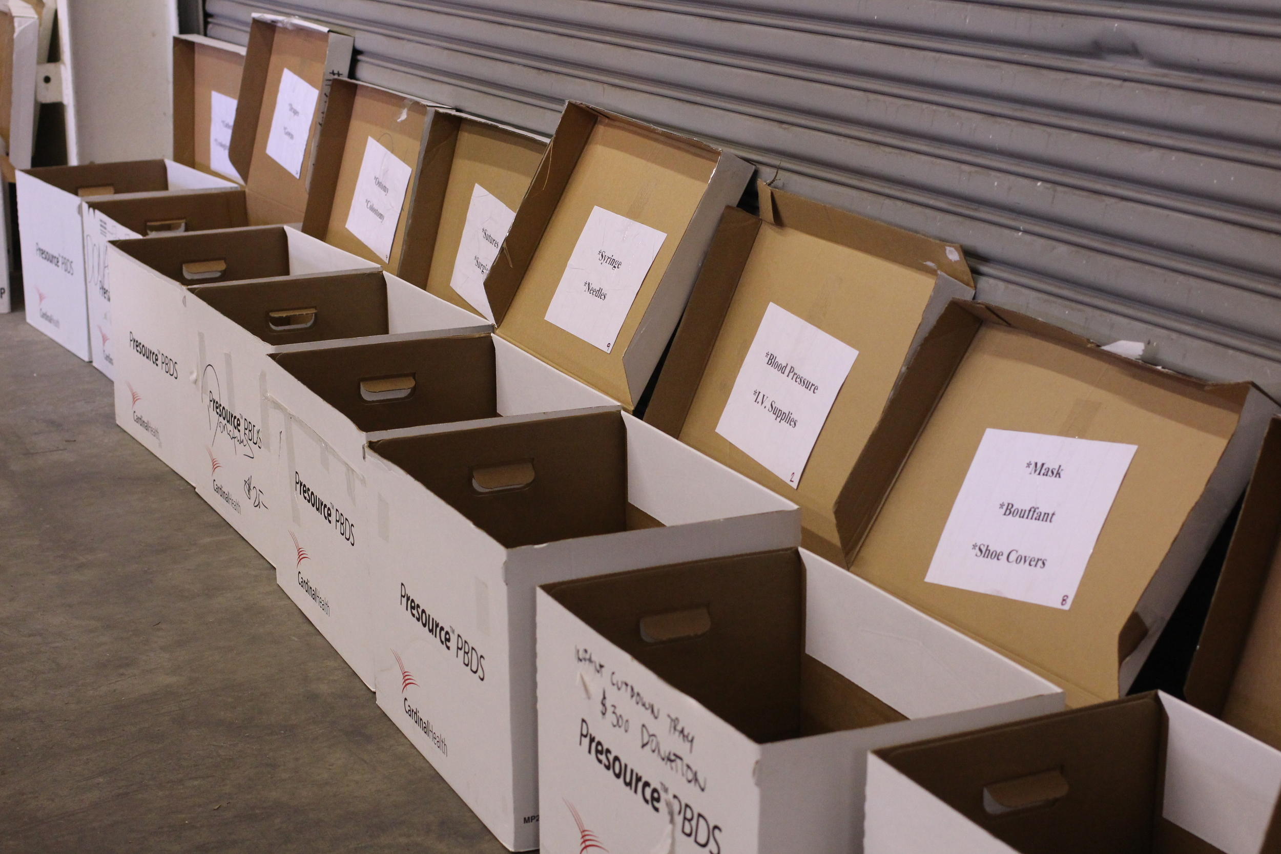 The many boxes at the warehouses holding different types of medical supplies.