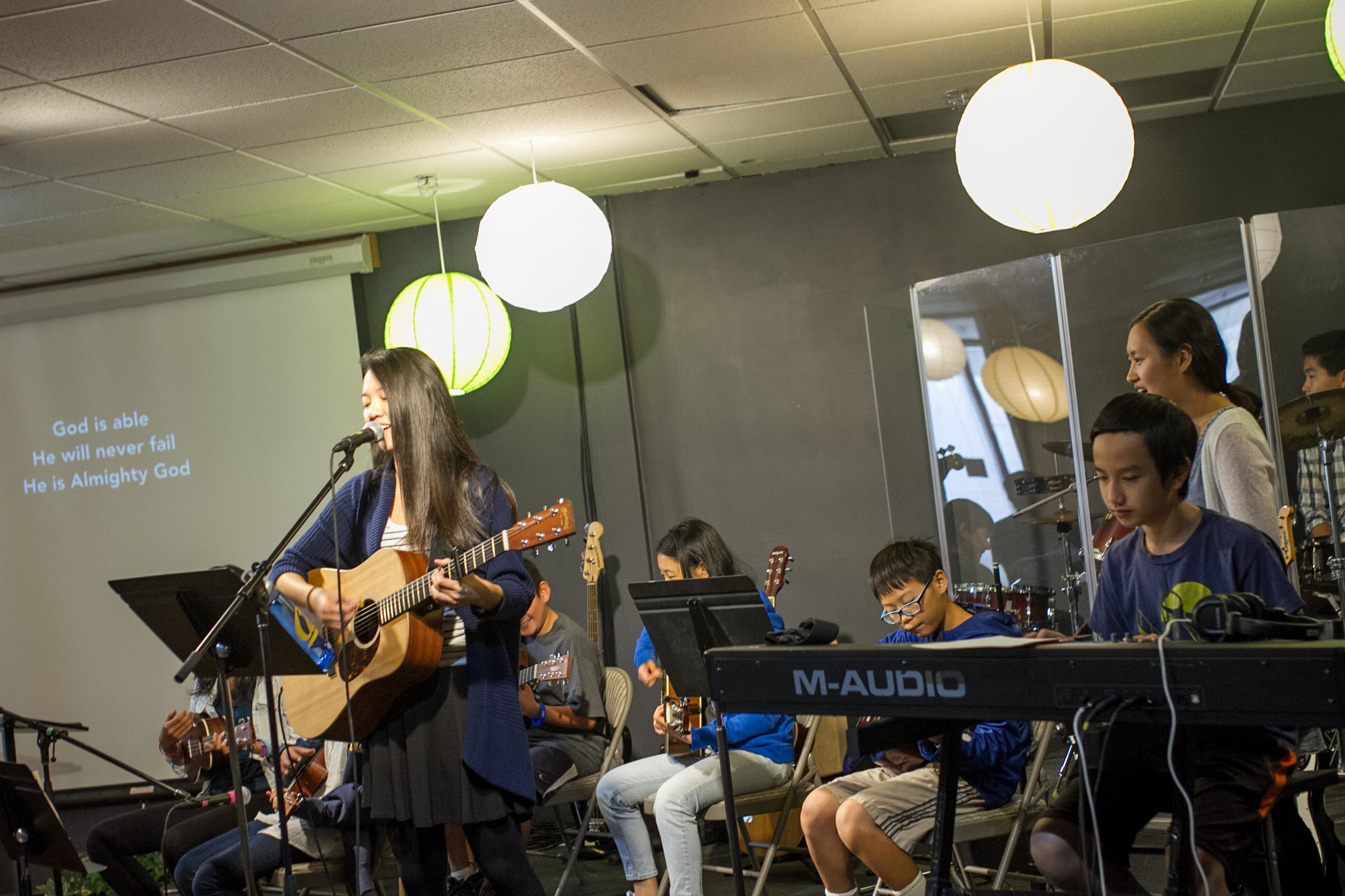 """For the final act, our students performed the song """"God Is Able.""""Our band featured all of ourinstrumentals teams: bass guitar, acoustic guitar, keys, drums, and..."""