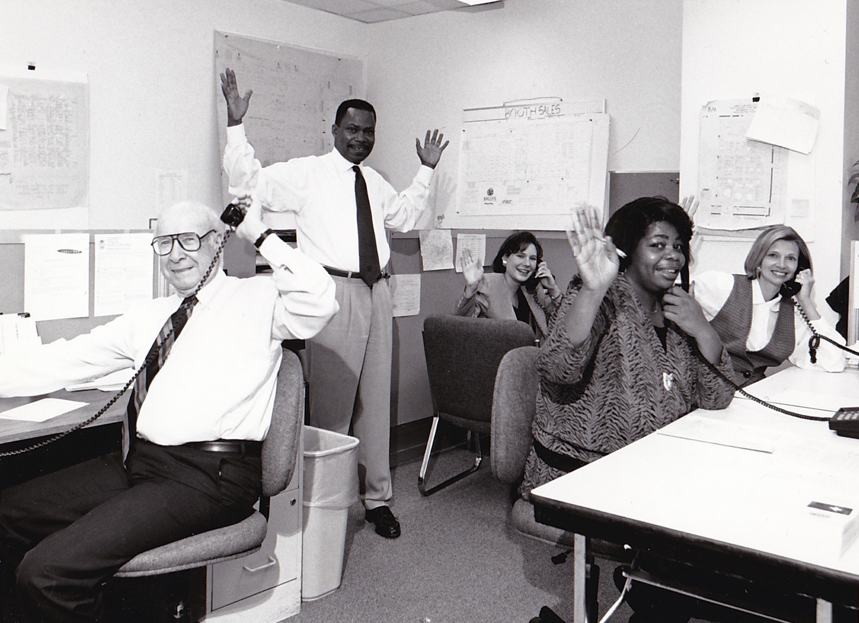 The Corcoran sales team busy selling booths in 1994. Pictured:(L to R) Ward Gill, Cliff Ruffin, Jeanne Corcoran, Debbie Corcoran and Karen Gaines.