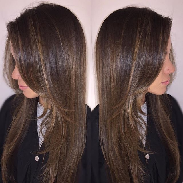 Sunkissed brunettes have fun too! Lighter and brighter for the summer. Balayage for @hydrateurbody #balayage #madisonsalon #behindthechair #americansalon #modernsalon #hairstylist #ochairstylist