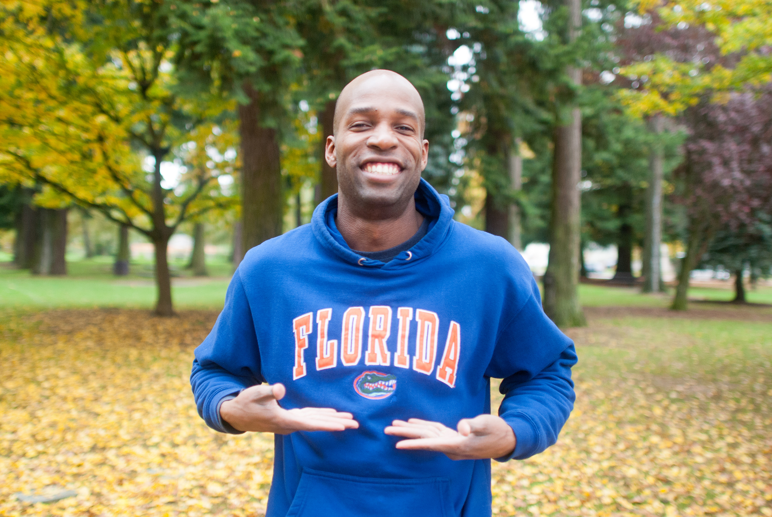 Matthew shows off his team pride in Gators gear.