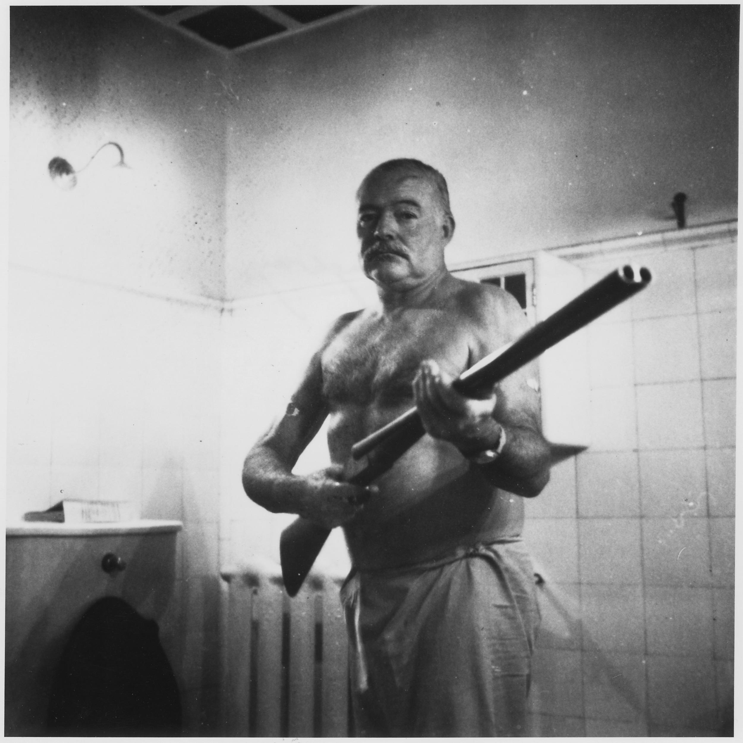 Hemingway has a gun