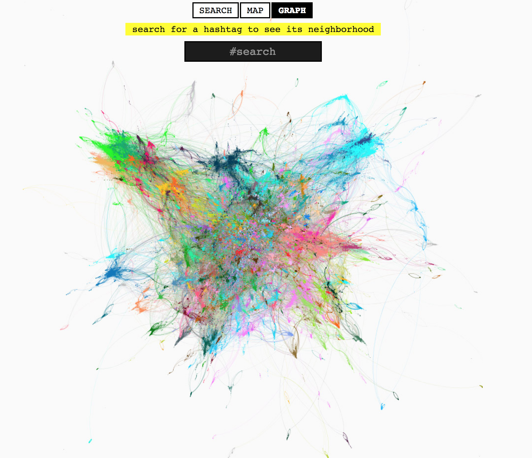 A rather incredible visualization of the hashtag data that drives Display Purposes. Each dot of color is a hashtag, and the colored lines connecting them show which hashtags relate to each other. Any user can zoom into the data mass by searching for a specific tag. While not entirely useful for coming up with your hashtags, it's interesting to explore.