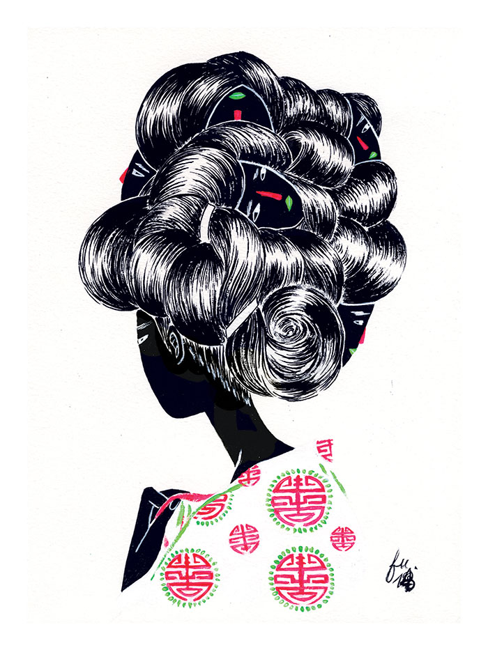 """Keeping Face. 8.25"""" x 11.5"""" Ink + gouache, 2014. Personal work."""