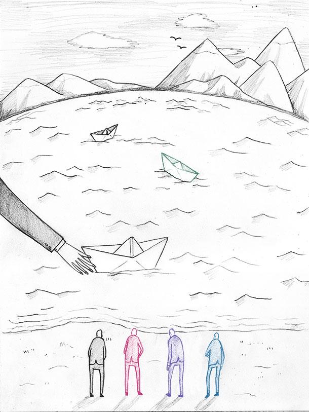Departures (II).  Pencil, digital, 2013. Editorial.