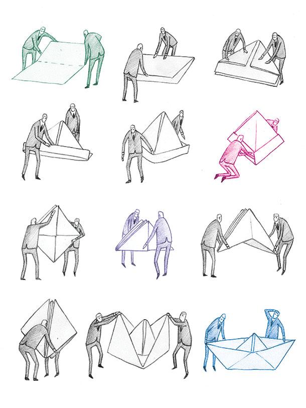 Departures (I). Pencil, digital, 2013. Editorial.
