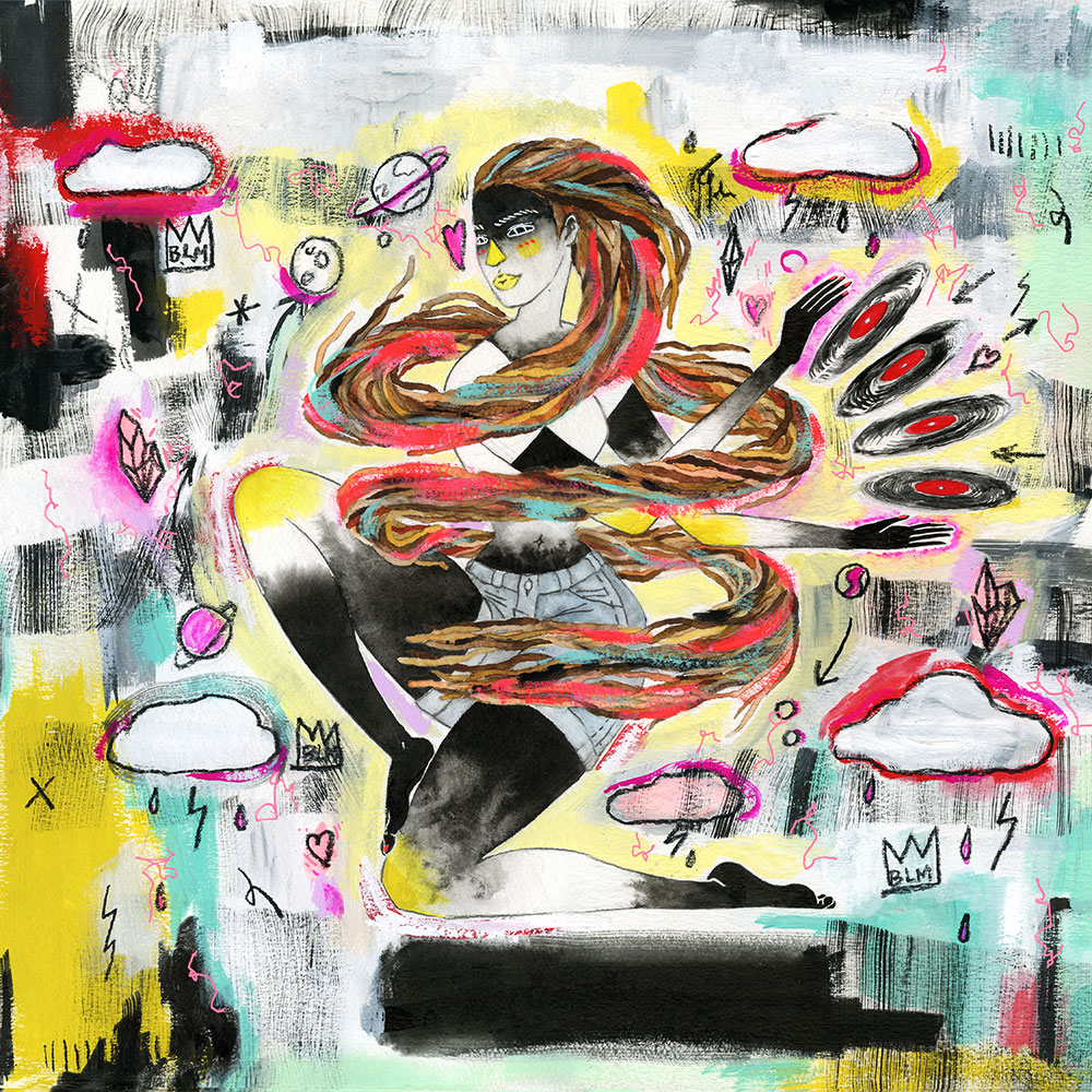 """High Rotation. 15"""" x 15""""Ink, gouache, and graphite on watercolor paper, 2015.   Album Cover Artwork for Hip-Hop artist Lady Mary James."""