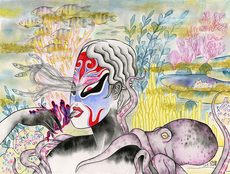 """Oceanopera. 16"""" x 12""""Ink, gouache, and graphite on watercolor paper, 2015.   Vancouver Alternative Arts and Fashion Week, Chinese Cultural Centre, Vancouver, BC."""