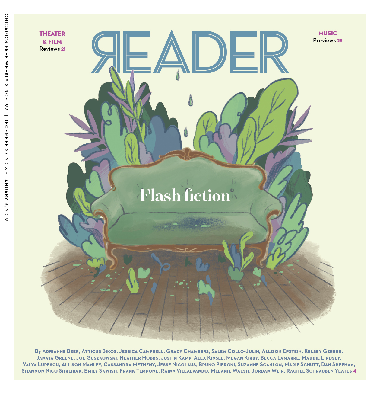 """Editorial cover and spot illustrations for  Chicago Reader """"Flash Fiction"""" Issue , 2018. AD Sue Kwong.  10 stories shared below"""