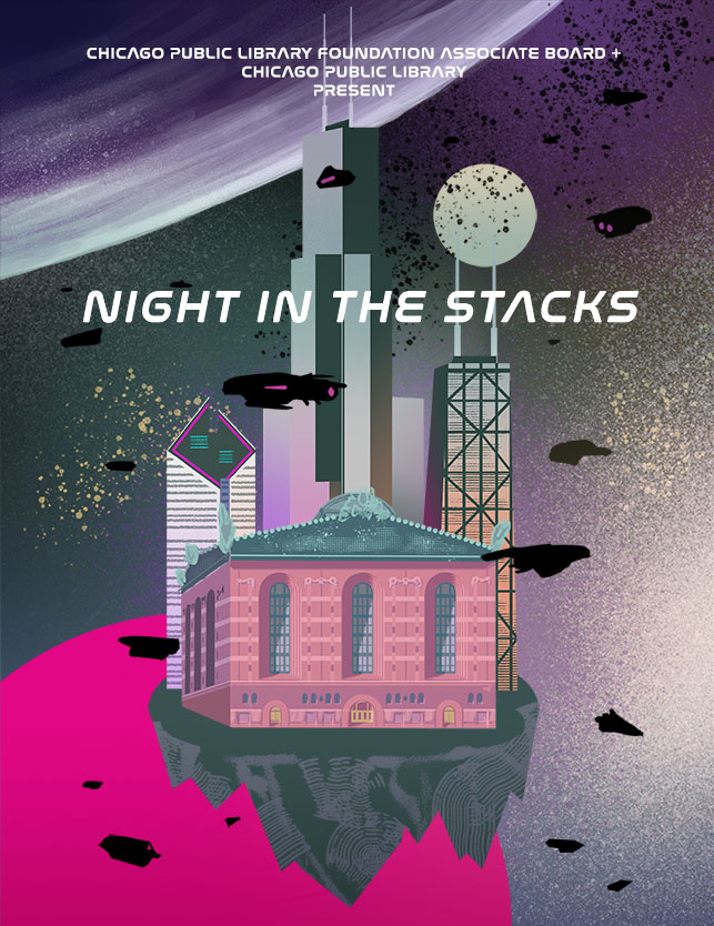 """Night In the Stacks"" invitation design for the Chicago Public Library and Chicago Public Library Foundation Associate Board, 2019."