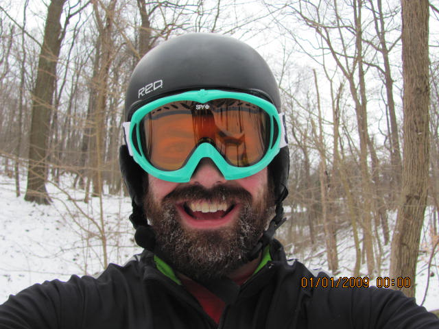 As you can see I am pretty happy to get out. If you can get past the initial shock of the cold you warm up pretty quickly. I know it looks dorky but I like to ride with ski goggles in conditions under 20 degrees fahrenheit as It keeps my eyes from watering and tear freezing to my face. Disregard the time stamp in the pic!