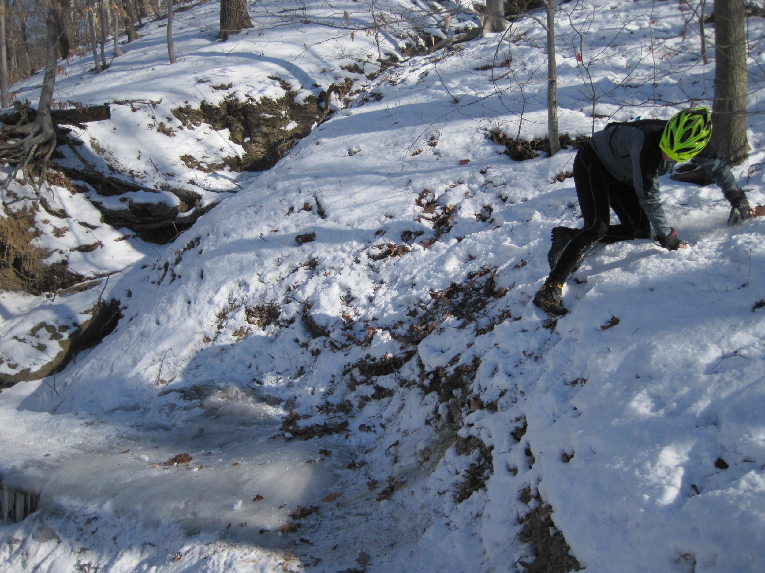 Dinky Bridge is still a little icy. Kristen is taking the high road.