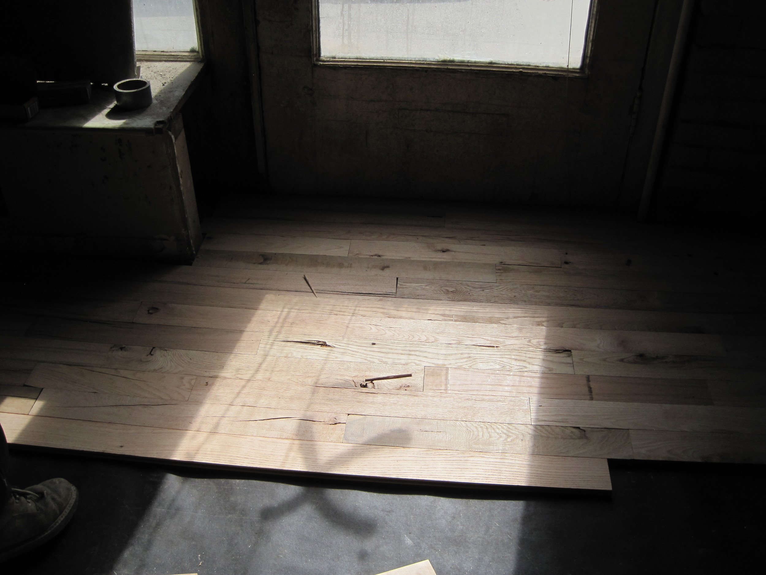 Hardwood being laid down!