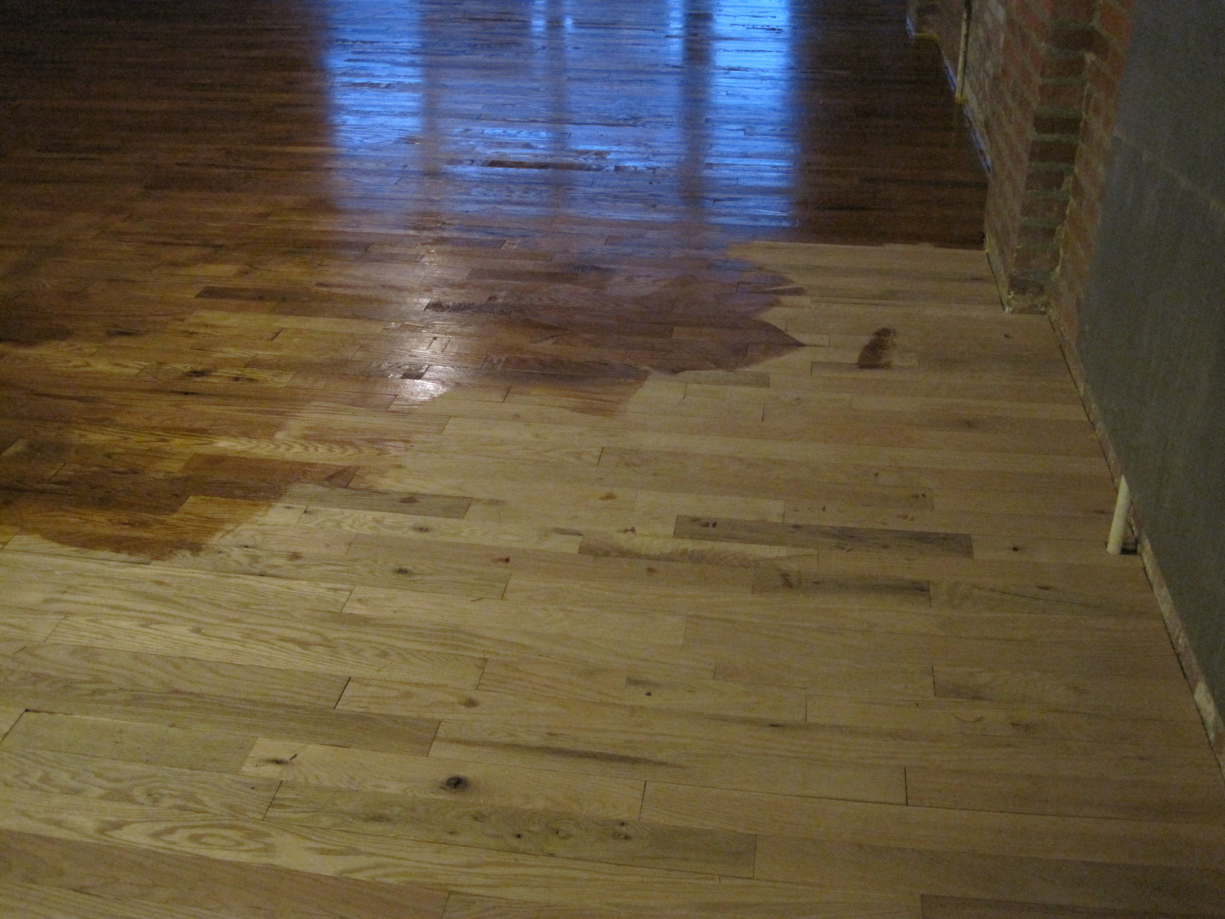 Staining the hardwood. We thought about leaving it natural without a stain but after it went down. We thought a light stain would bring out the grain of the wood.