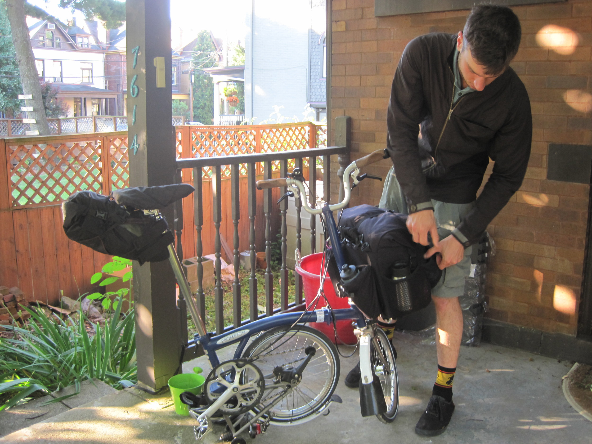 John getting ready for the trip with a final check of his Brompton folding bike
