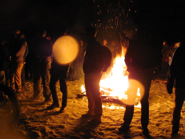 Surly threw a party behind the QBP's headquarters. They made a huge pallet fire in the middle of a lake then encouraged us towards bike shenanigans. Katharine and myself were pretty concerned about have a fire on a frozen lake but no one else seemed to care. When in RomeI guess.