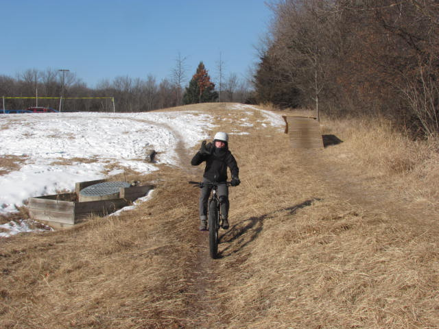 There were some man-made features on the fat bike course, The was a big wooden kicker and a big wooden berm.