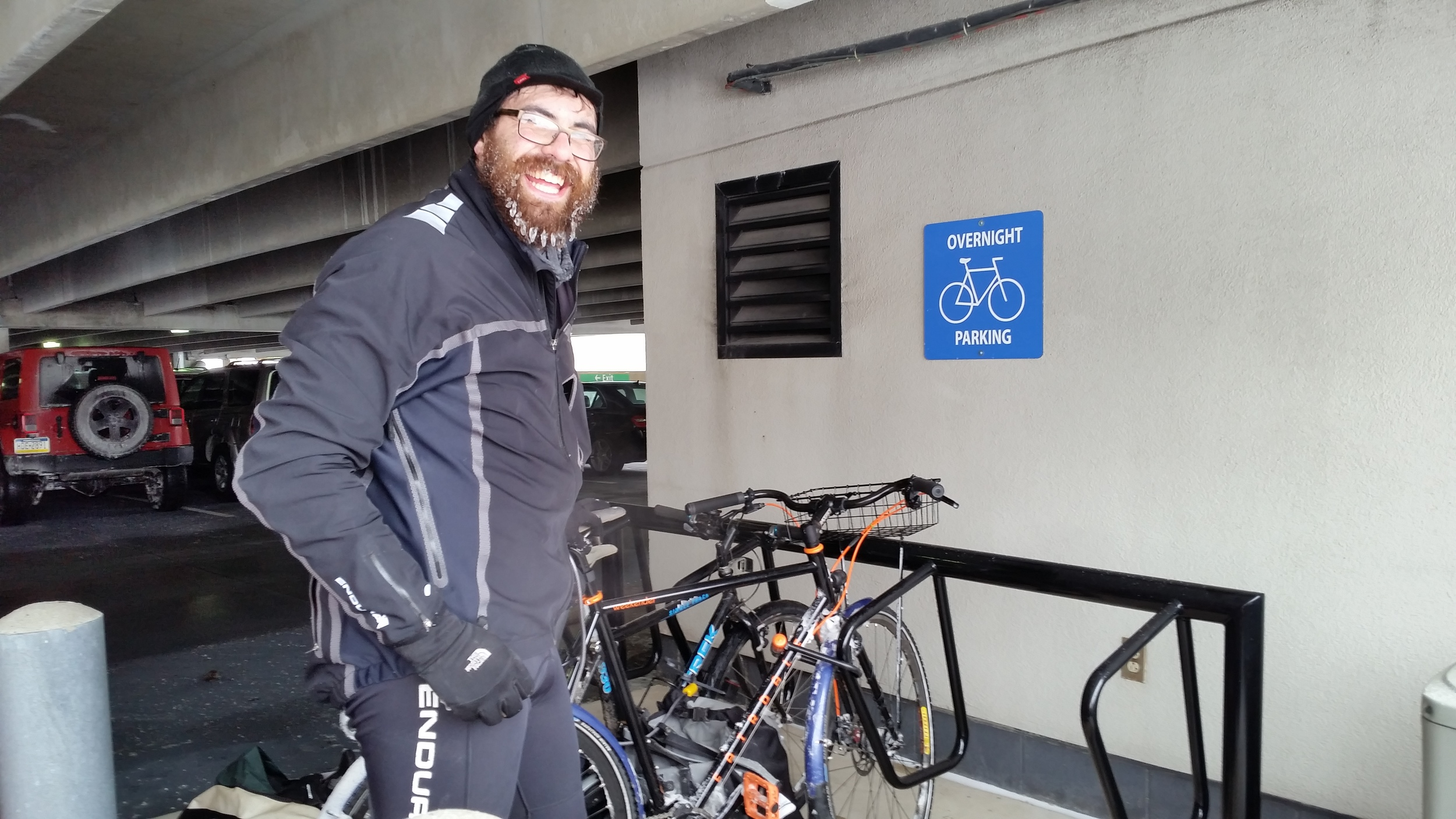 Awesome Airport bike parking. Partially covered, our bikes made it thru a cold and snowy week, no problem. We used one U-lock, one folding lock, and a cable lock to grab our saddles, helmets, and empty panniers.