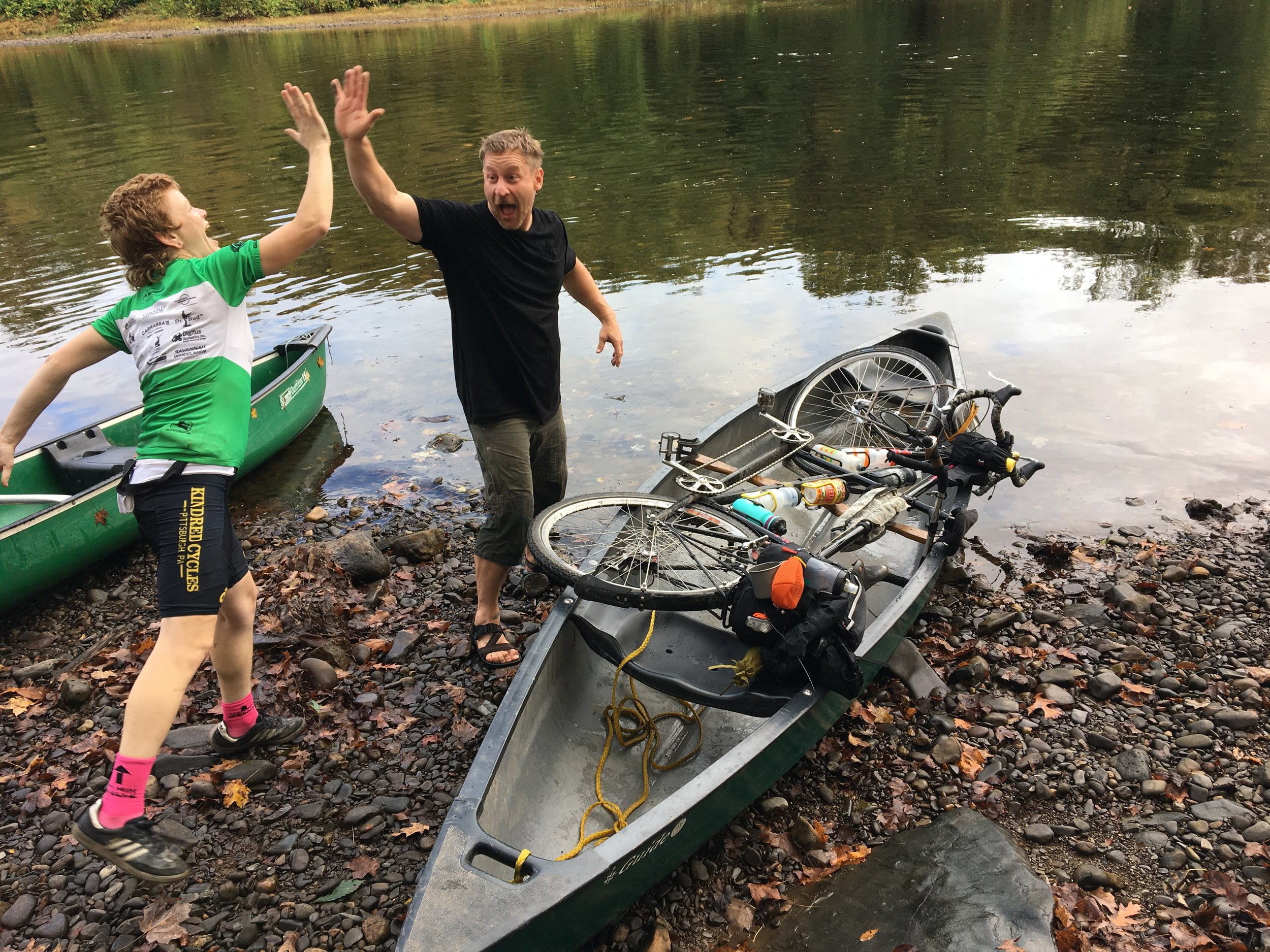 Katharine and Paul stoked on their successful canoe tandem loading!