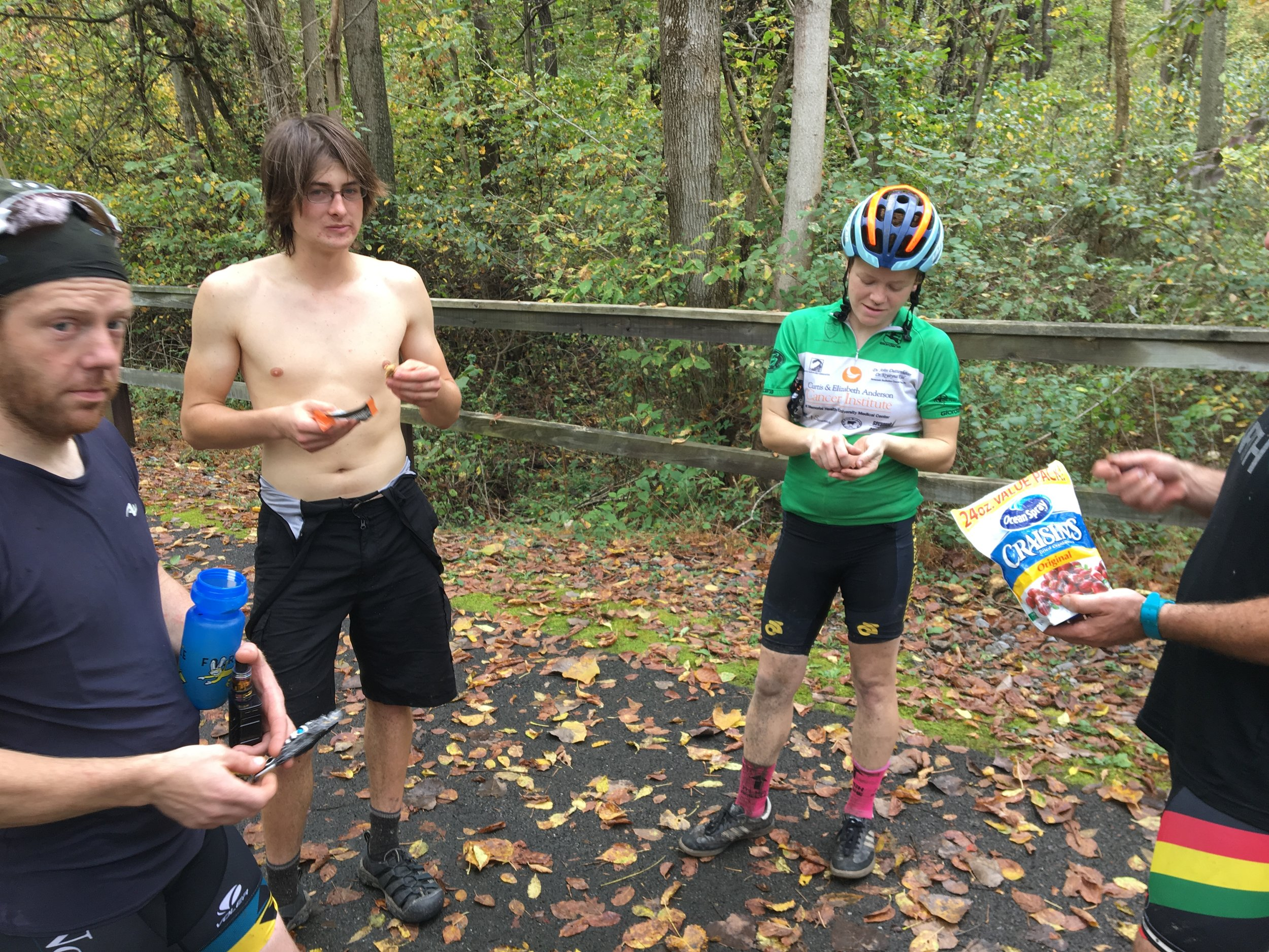 We stopped to snack and stretch every 15 mile or so.