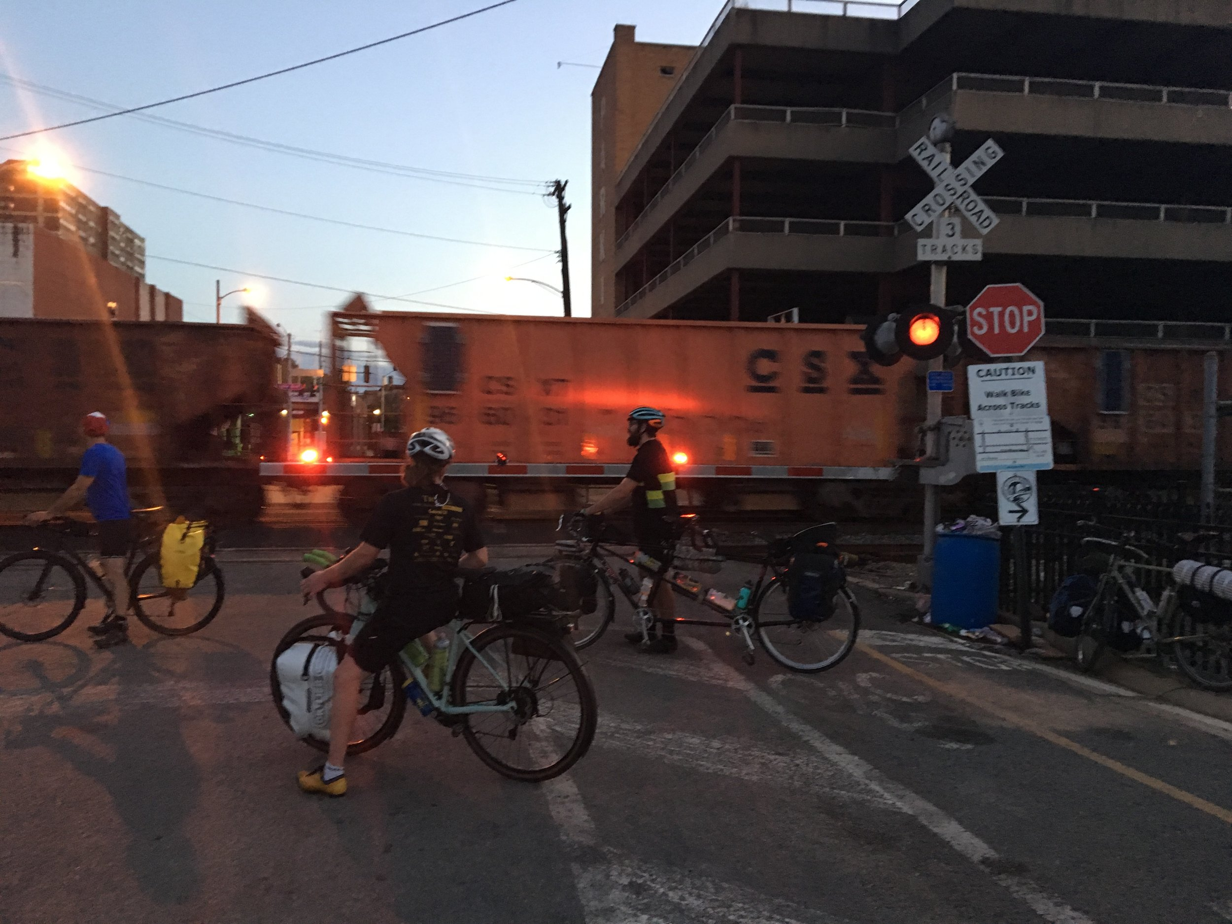 We barely got out of Pittsburgh before dark.  Here we are waiting at the train track in McKeesport, PA less than 20 miles outside of Pittsburgh.  We wanted to leave the shop by 5:30 so we could get to Connellsville and buy food and get to bed for our next big day of 120 miles of mostly climbing.