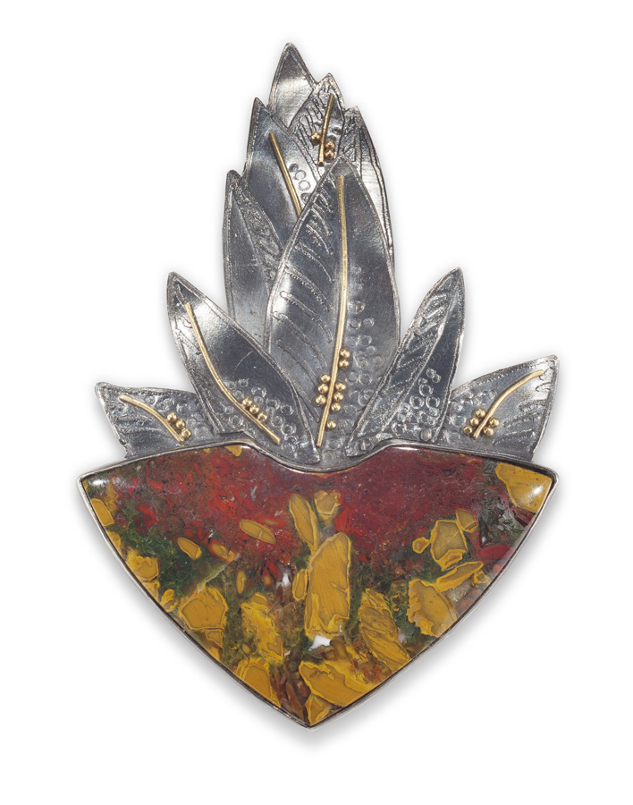 Brecciated Jasper & Moss Agate pin/pendant