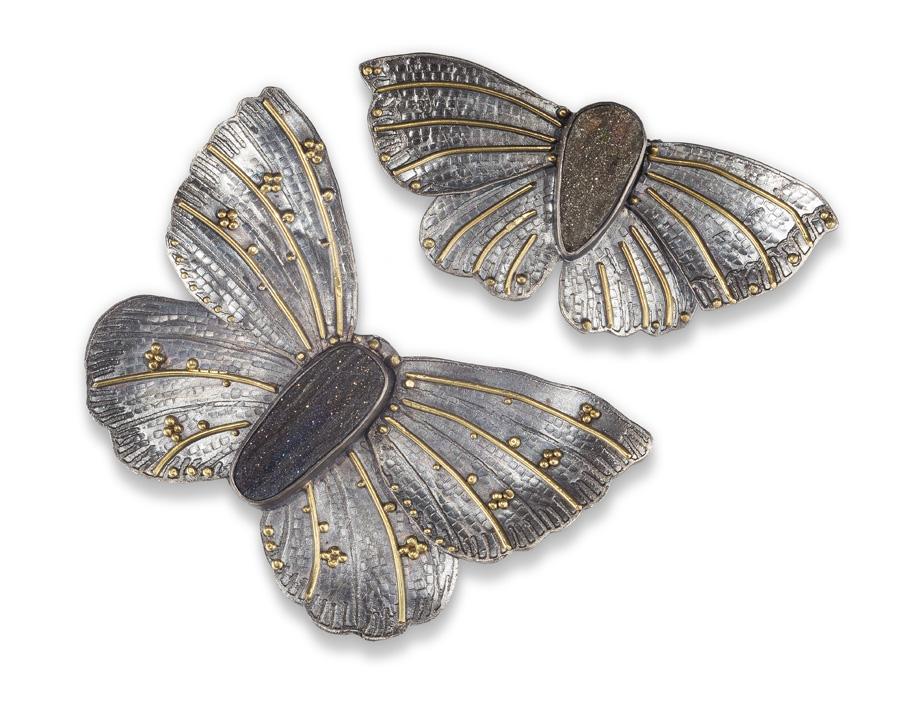 Two Butterfly pin/pendants