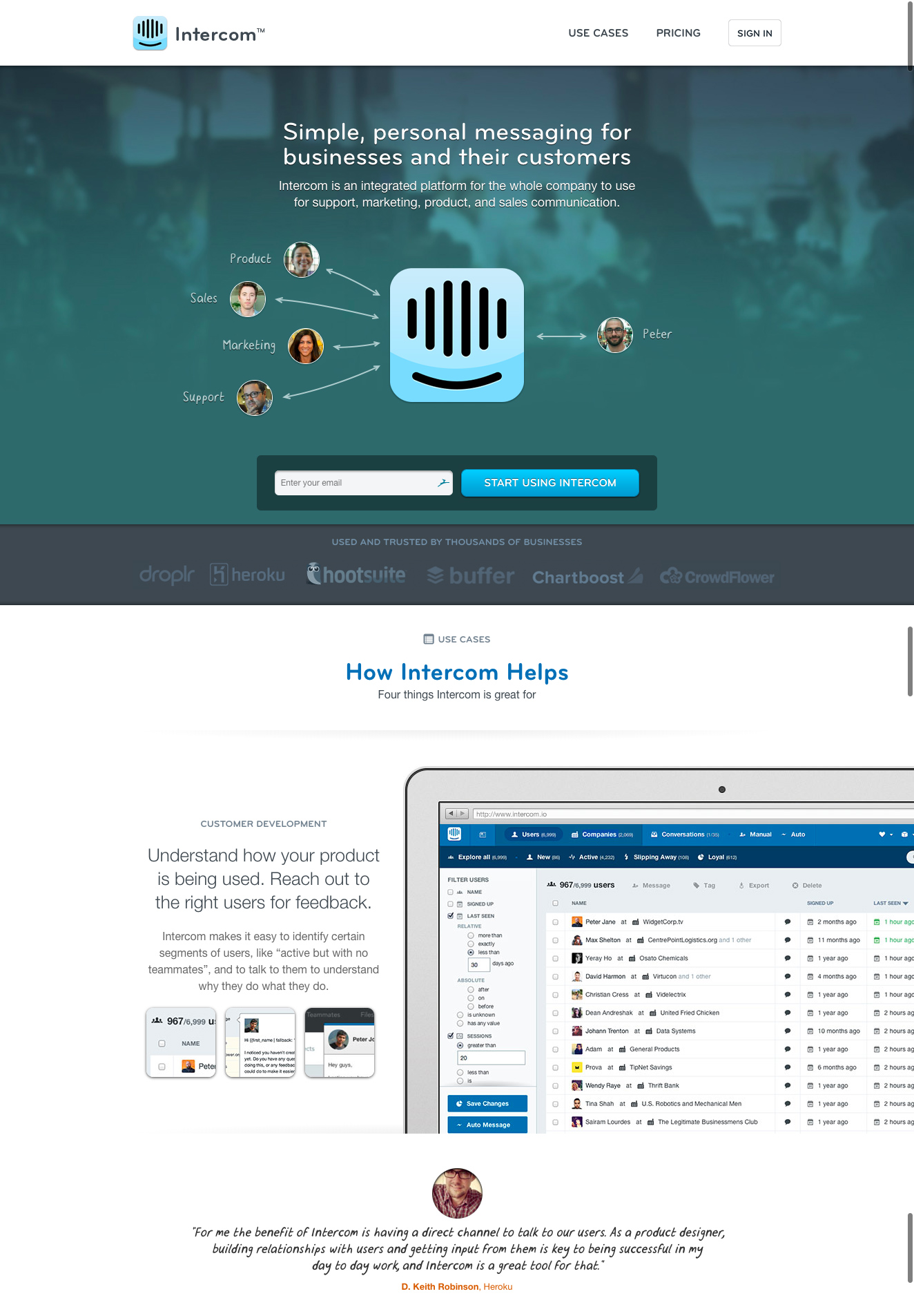 Intercom website, early-2014 (before I joined)