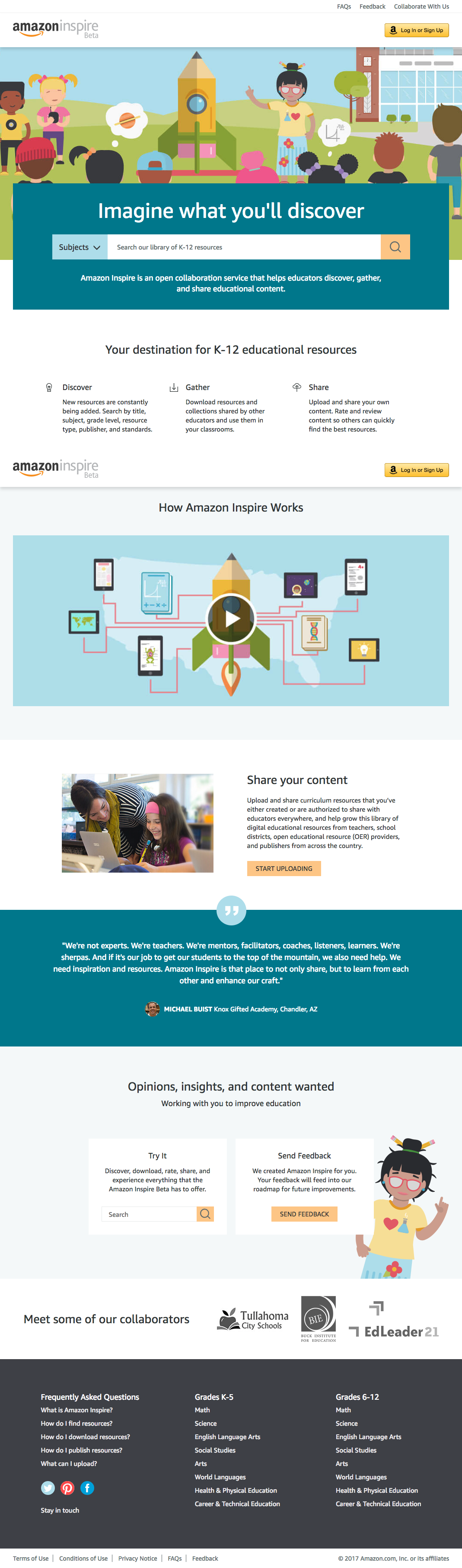 Amazon Inspire  Educational resources for teachers  created by teachers  school districts  publishers  and OER providers.   Amazon Inspire.png