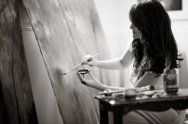 Painting in my art studio