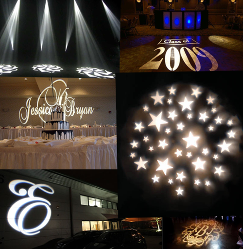 Custom Gobo Projection - A custom gobo projector light is a great way to personalize your event! Great for wedding initials, holiday theme, company logo, or a special design