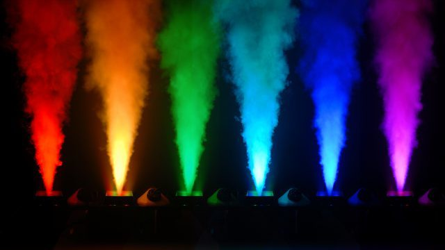 pyro geysers - CO2 Cannon like Special FX with LED Colored Lighting for Quick Dissipating Smoke