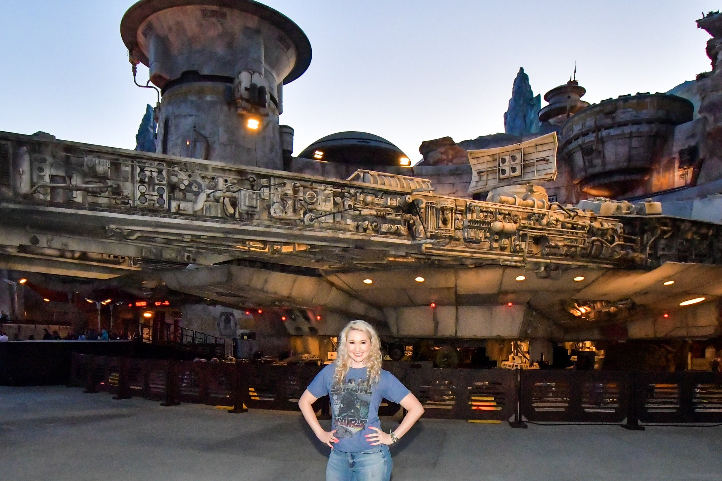Keeping myself entertained in front of the Millennium Falcon while my friends rode Smugglers Run for the 2nd and 3rd time.