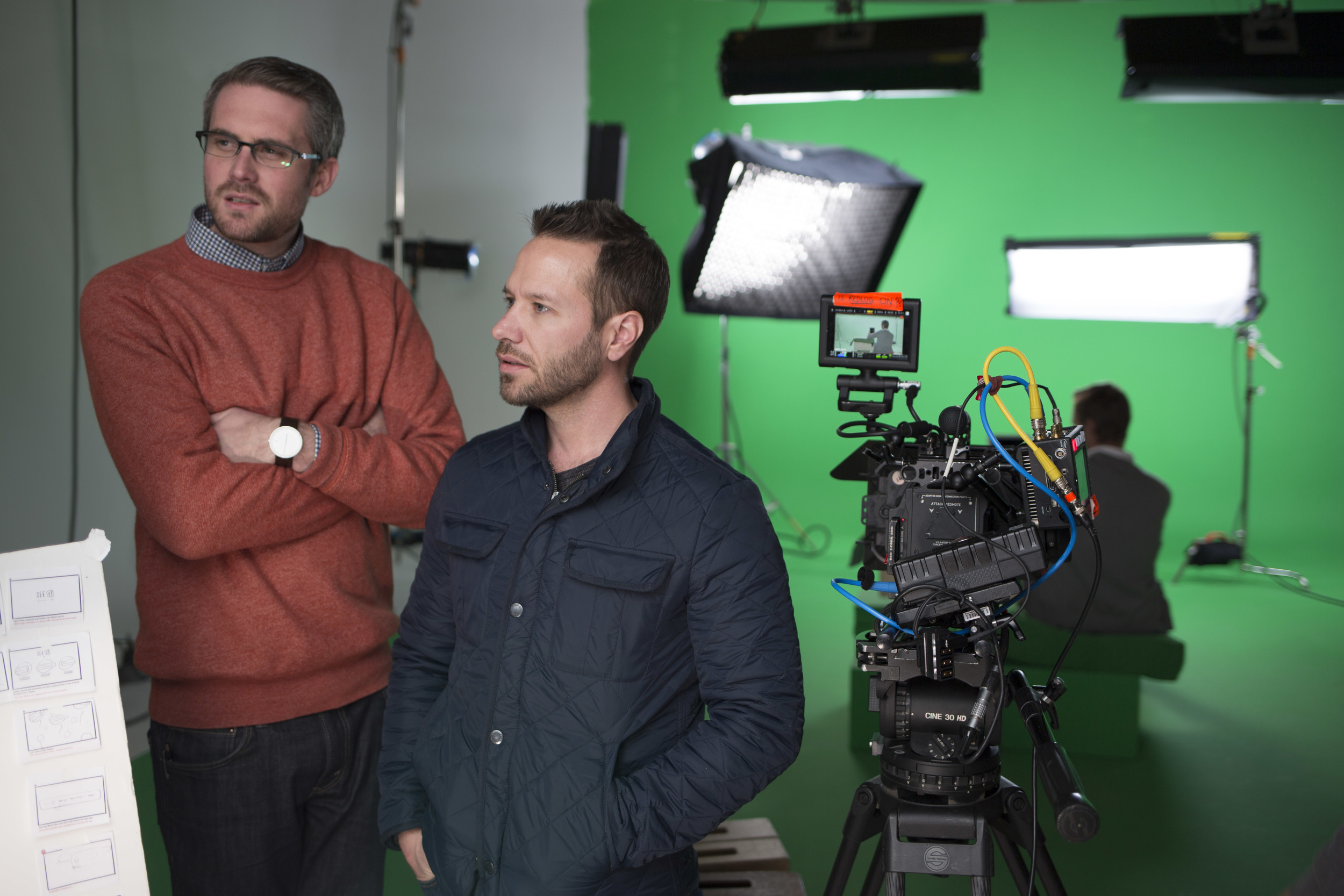 Adam and Phil during a take.