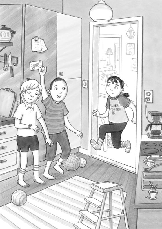 Illustration ur Lillis och äkta kompisarna, Rabén & Sjögren 2019