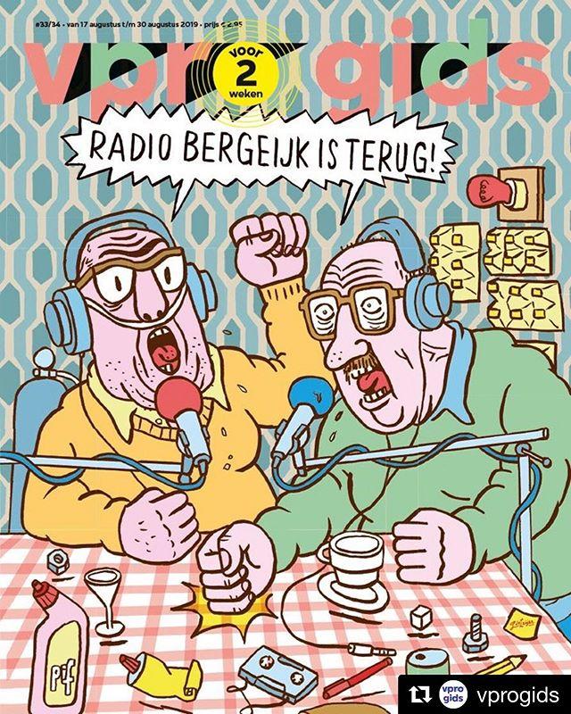 #Repost @vprogids ・・・ Radio Bergeijk komt na 12 jaar terug! Deze cover is gemaakt door @jeroendeleijer Hij is striptekenaar, illustrator, beeldend kunstenaar en vooral bekend als geestelijk vader van Villa Achterwerk-heldin Eefje Wentelteefje.  Bij de start van Radio Bergeijk, in 2001, maakte De Leijer al strips met Peer en Toon in de hoofdrol. Een tijdlang verschenen die wekelijks in de VPRO Gids. 🎙  Vanaf 27 augustus zijn de satirische sketches van Radio Bergeijk te beluisteren op @nporadio1 en als podcast. #vpro #cover #coverillustration #illustration #illustratie #art #RadioBergeijk #vprogids #illustration_daily #illustraties #ontwerp #grafischontwerp #grafisch