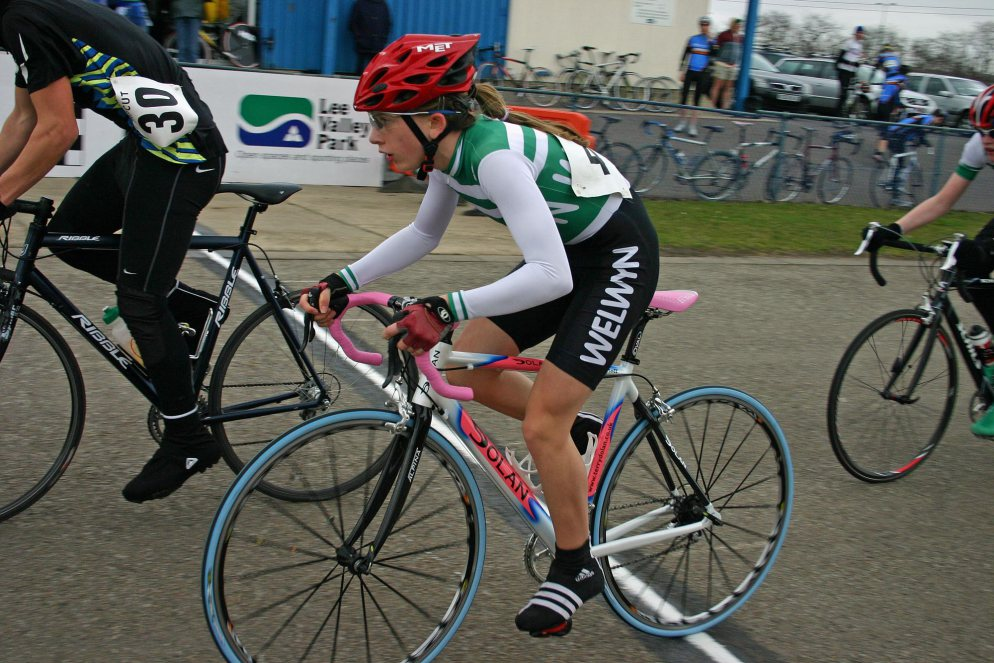 Great Britain's most successful Olympic female,  Laura Kenny (Trott) mixing it up in the mens race at Eastway in 2006. Photo J  ohn  Mullineaux