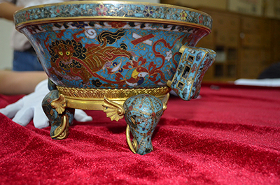 Cloisonné tripod incense-burner, gilded copper alloy and polychrome enamel inlays, Jingtai mark and reign (1450-56) of the early Ming period, Nanjing Museum