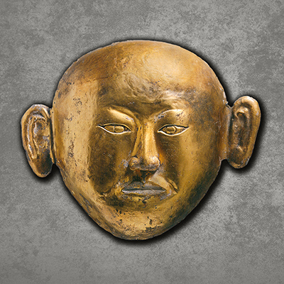 Burial mask of the Princess of Chen, Liao dynasty (907–1125), Excavated from the tomb of the Princess of Chen at Qinglongshang Town in Naiman Banner, Gold, Inner Mongolia Archaeological Research Institute.