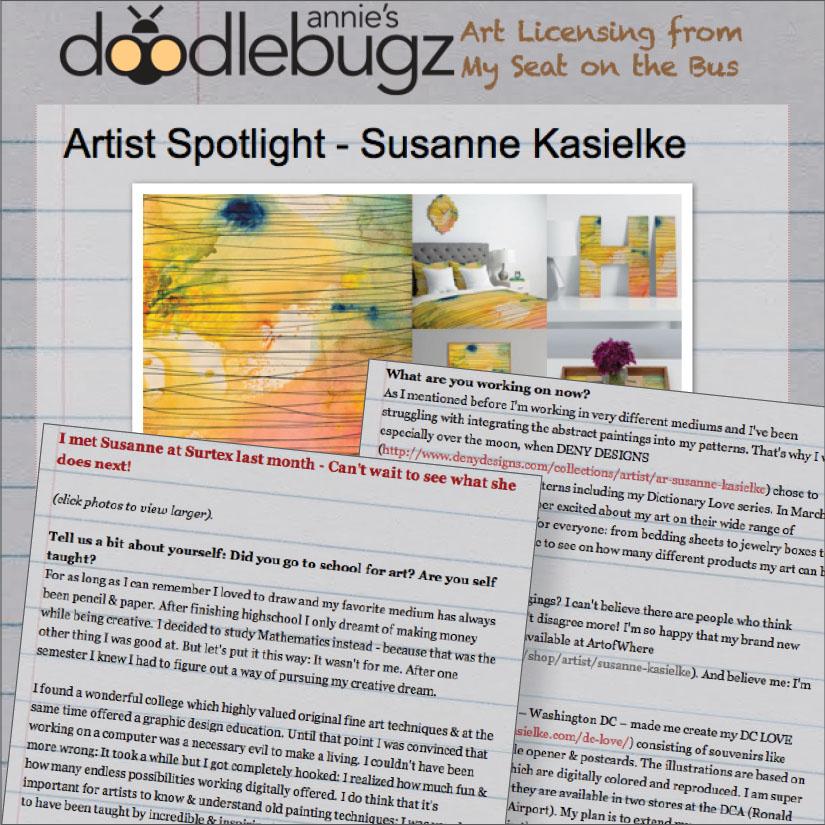 ANNIE'S DOODLEBUGZ : Artist Spotlight.   Click here      to read  , 06/2014.