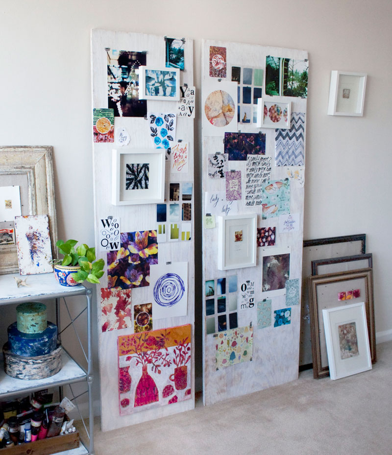 Susanne's studio in her apartment. When working on new collections, she assembles new work, sketches and inspiration to her boards to view it all together as a whole.