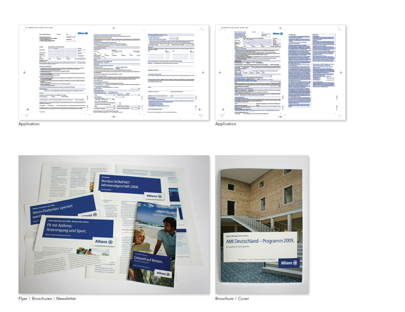 Allianz | www.allianz.com  The Allianz Group is one of the leading integrated financial services providers worldwide. Allianz is the market leader for insurance in the German market. My assignments: design and technical implementation of all kinds of marketing materials, (e.g. form, flyer, folder, newsletter, adds, poster, brochure), while considering strict guidelines and ensuring a cohesive corporate identity of the brand.