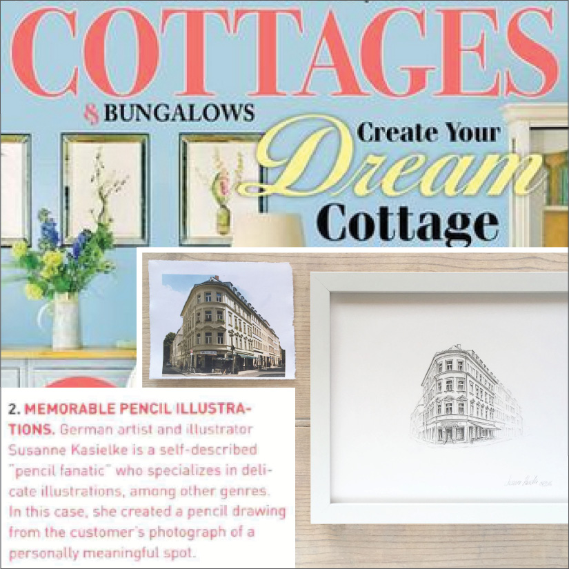 "Cottages & Bungalows:   ""Art Just For You"" featuring her commissioned original art, page 33, 03/2017"