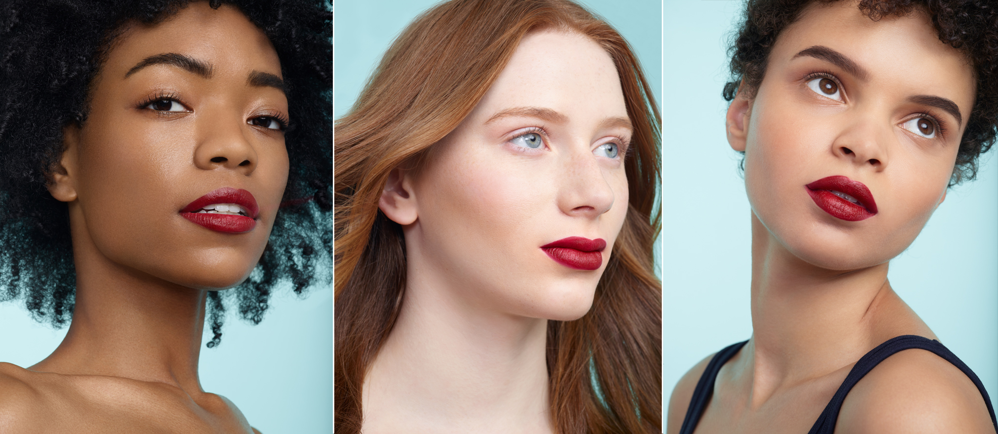 Portraits of three red lipstick shades on three diverse female models